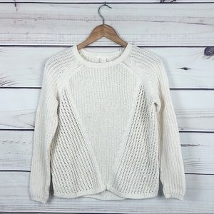 H&M White Cable Knitted Fall Sweater SZ XS